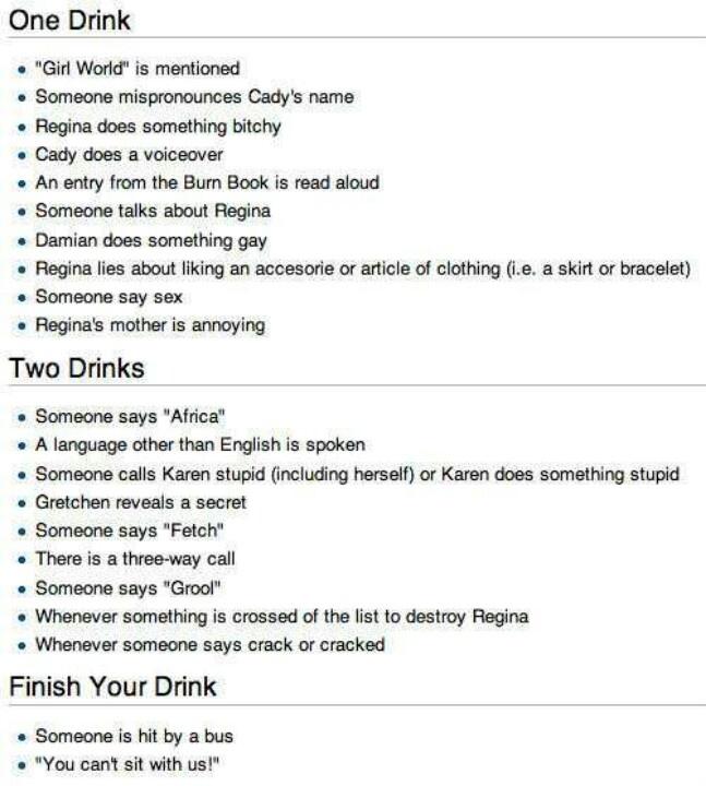 Mean girls drinking games