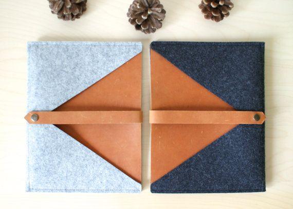 Simple ipad sleeves made of felt and leather
