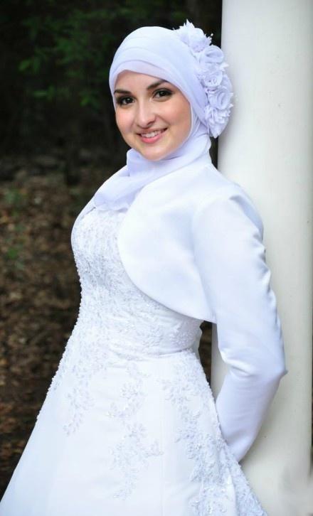 white dress hijabi