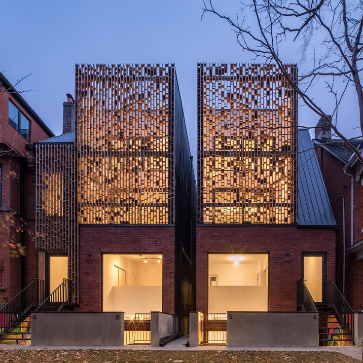 Batay-Csorba Architects has created a pair of slender residential buildings in central Toronto that pay heed to historic craftsmanship found in the area.