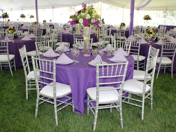 purple+outdoor+wedding | purple silver chiavari lilac chair centerpiece tent wedding linen ...