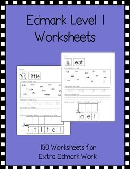Level 1 Edmark Worksheets