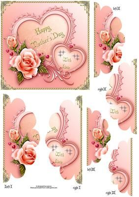 mothers day fancy edge side stacker on Craftsuprint designed by Wendy Jones - roses and hearts mothers day fancy edge side stacker - Now available for download!