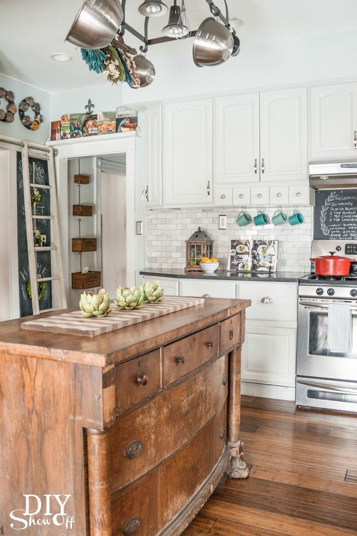 Love the repurposed furniture piece for the island! Recycle Reuse Furniture Kitchen Island