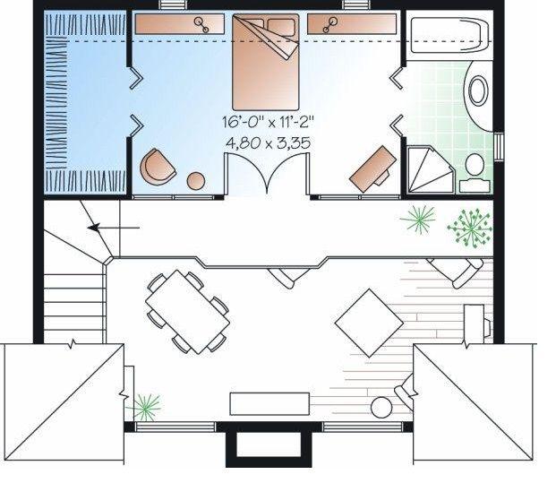 Plano de casa de un dormitorio   Planos de casas
