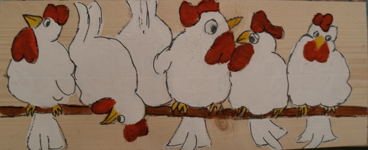 Kippen op stok 1