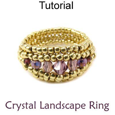 Beaded Crystal Landscape Ring Herringbone Beading Pattern Tutorial