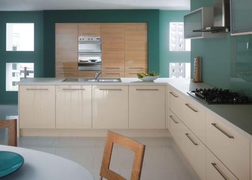 High gloss cream kitchen with alder contrast cupboards, seafoam accent colour