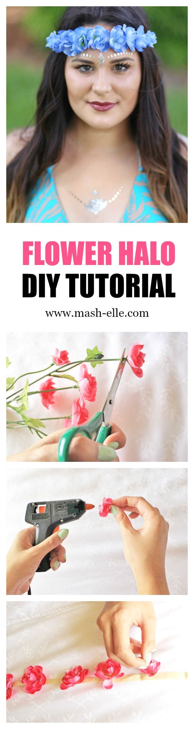The EASIEST flower halo tutorial on the Internet! | Fashion blogger Mash Elle shows how quick and easy it is to make a flower crown for music festivals such as Coachella, Bonnaroo and more! Find festival fashion tips and ideas here!