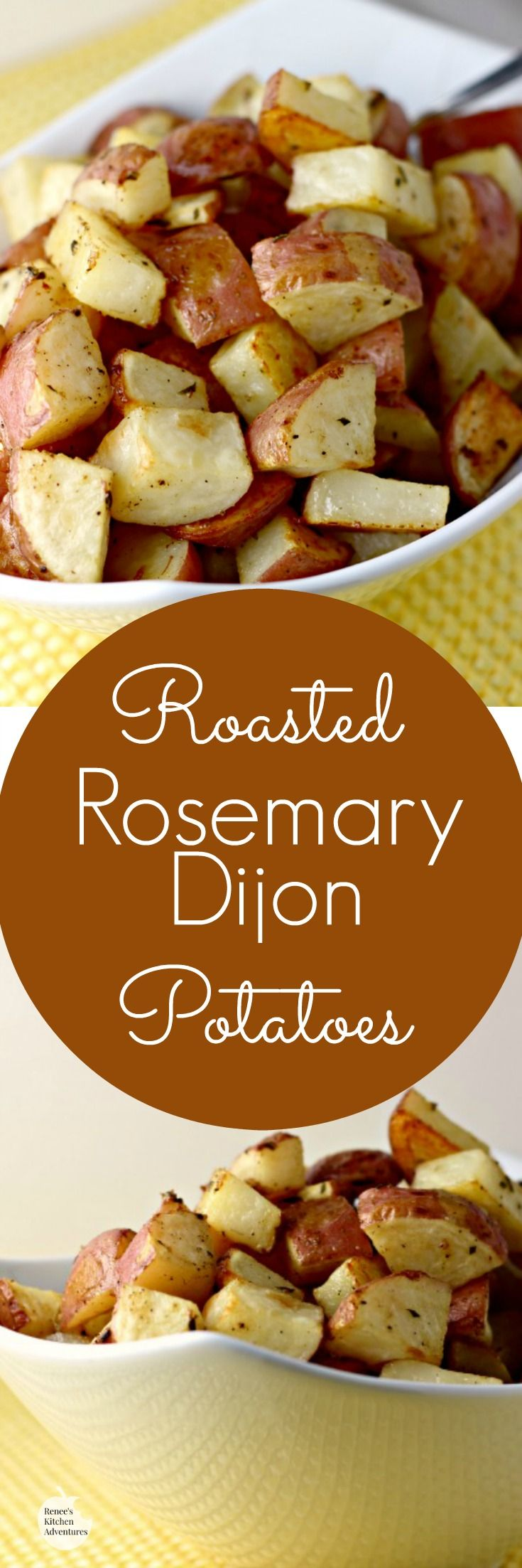 Roasted Rosemary Dijon Potatoes | by Renee's Kitchen Adventures - Easy recipe for a healthy potato side dish with pizzazz!