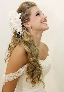 Crystal, with ur peacock feather instead of flowers??  Bride hair /half up do :)