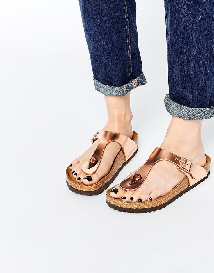 Image 1 ofBirkenstock Gizeh Metallic Copper Slider Flat Sandals