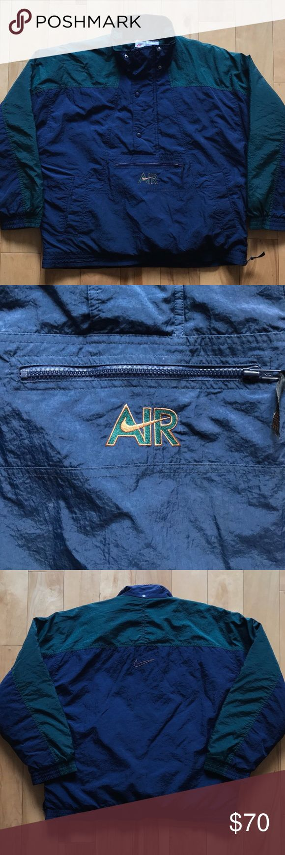 VINTAGE 90's NIKE AIR JACKET MEN'S SIZE L RARE Details: Great condition! No defects. Green & navy blue jacket. Half zip + button up. 3 front pockets 1 with zipper. Nike AIR logo embroidered on pocket. Nike swoosh embroidered on back of jacket.  MEASUREMENTS FURNISHED UPON REQUEST!  *Ships from US.  *Same or next day shipping.  *First-Class US shipping (delivery in 1 to 3 business days).  *First-Class International shipping (delivery in 7 to 21 business days).  *Tracking # supplied after…