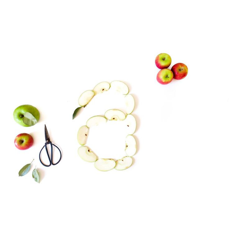 A is for Apple  Food typography from @foodfont and Lauren Kim Photography