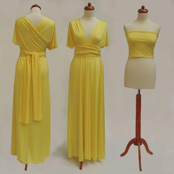 Dlouhé žluté Convertibles® šaty 👑 #zlutesatyconvertibles Každé #satyconvertibles mají k sobě bolerko/top ve stejné barvě, které si můžete vzít přímo na tělo nebo použít jako krycí díl vašeho vlastního spodního prádla. Šaty ale můžete nosit i bez něj a nechat tak vyniknout svá záda 👌