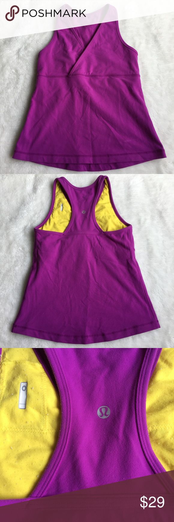 "Lululemon Magenta Top size 6 Preowned authentic Lululemon Magenta Top size 6. No size tag inside. Armpit to armpit is 13.5"" inches. Waist is 13.5"" inches. Top has signs of normal regular wear. Please look at pictures for better reference. Happy shopping!! lululemon athletica Tops Tank Tops"