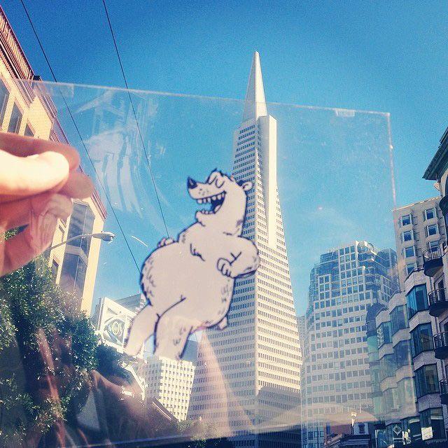 il ins u00e9re des cartoons dans la r u00e9alit u00e9 avec un film transparent