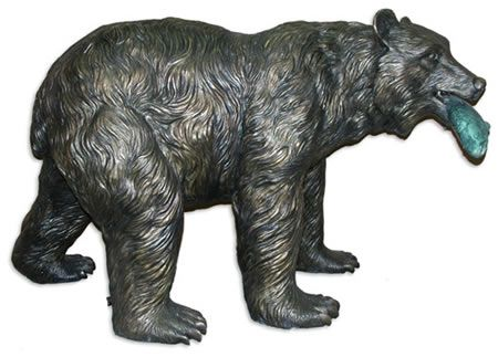 Bear With Salmon Garden Sculpture Statue In Bronze Available At  AllSculptures.com