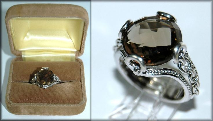 5 ct Checkerboard Cut Smoky Quartz in Sterling Silver Ring Size 6 #UnknownHallmark #Solitaire