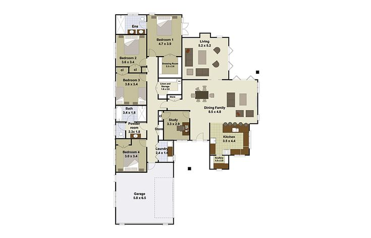 Motueka 4 bedroom house plan Landmark Homes builders NZ