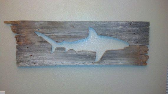 Galapagos Shark Barn Wood Wall Art Hanging Decor. via Etsy