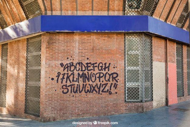 Download Mockup Of Graffiti On Brick Wall For Free Sign Mockup Brick Wall Pop Up Banner
