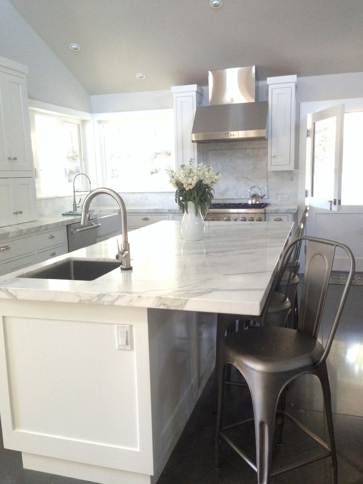 White Farmhouse Kitchen Carrera Marble Countertops