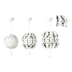 IKEA - IKEA PS 2014, Pendant lamp, white/silver color, , You can easily switch between a brighter general light and a softer mood light by just pulling the strings.Projects decorative patterns onto the ceiling and on the wall.
