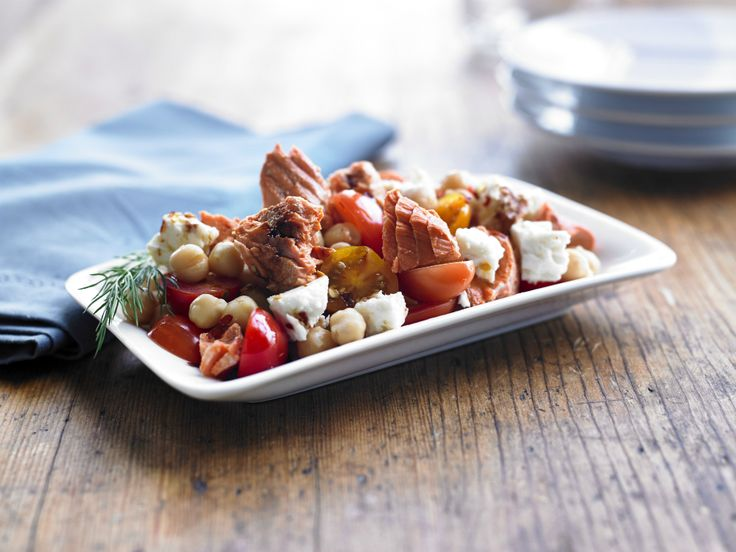 Make Life Easy with this Salmon, Tomato, Chickpea and Feta Salad recipe! LIKE us at https://www.facebook.com/goldseal #cannedsalmon #cannedseafood #easyrecipes