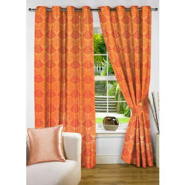 Fflaunt Grace Floral Orange Eyelet Curtain
