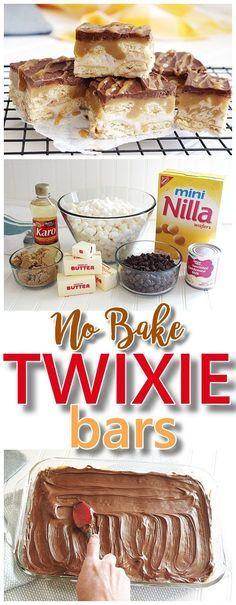 EASY Twixie Bars No Bake Dessert Treats Recipe - Chocolate Caramel Nilla Wafers Layered Yummy Dessert Bars Recipe for TWIX Candy Bars lovers