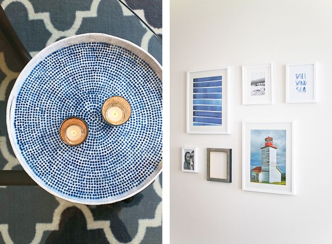 Girl & Closet. Beachy inspired gallery wall + coffee table tray!