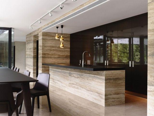 Luxuriöse Küche-schwarz lackierte Küchenschranktüren Hochglanz-Naturstein-Effekt Kücheninsel