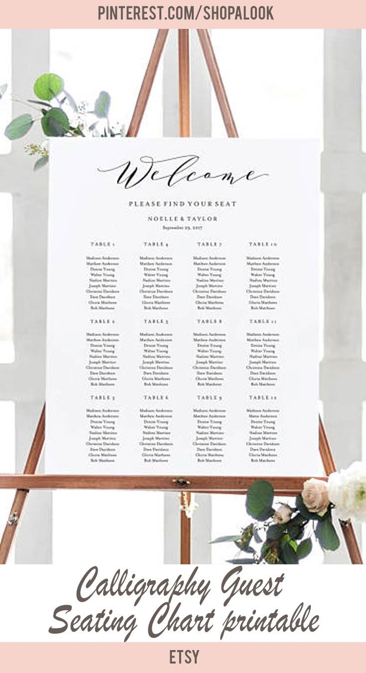 Calligraphy Guest Seating Chart printable #afflink #printable #weddinginvitations #wedding
