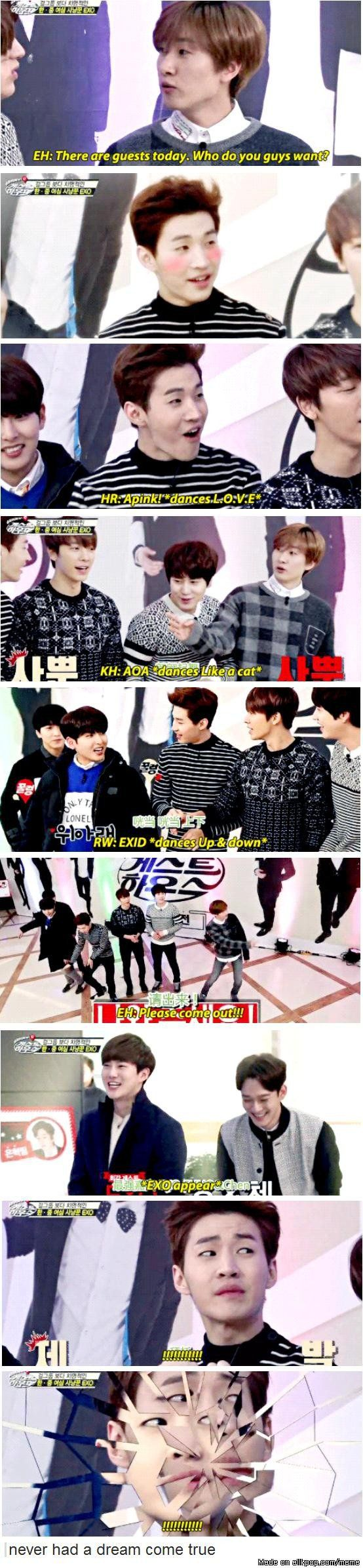Super Junior disappointed when the special guest is EXO instead of a girl groups XD