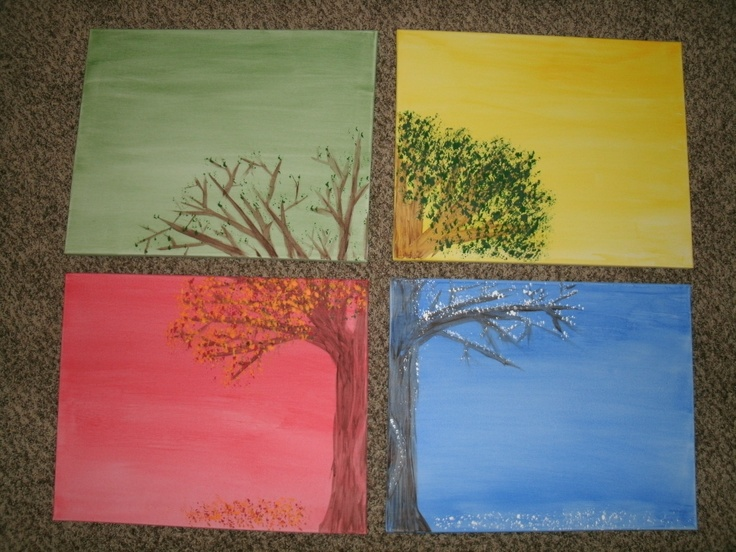 """Painting Series """"Changing of the Seasons""""--Going to be displayed as the center piece in an elementary classroom where the theme is """"Change."""" The background  and tree is craft paint applied with a sponge brush and the leaves/snow is craft paint applied with a piece of wiry kitchen sponge. This is a cheap DIY!!!"""