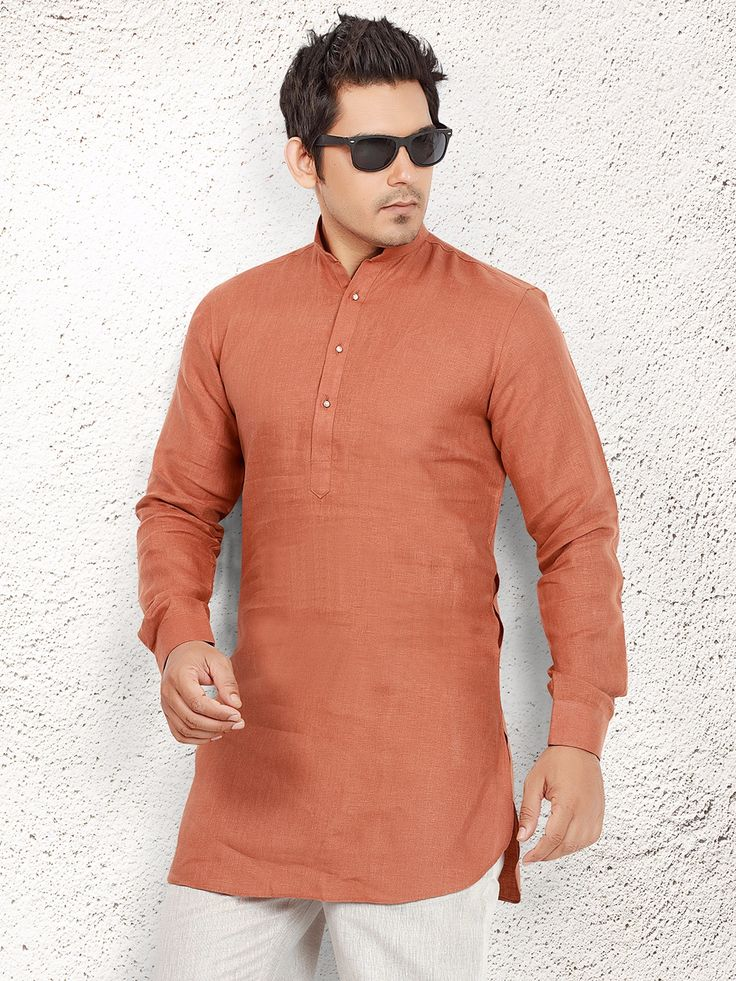 Orange Linen Short Pathani