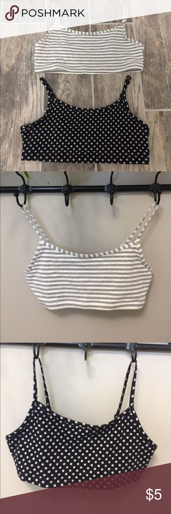 Sports Bras 2 bras. Gray and white striped, black and white polka dots. Both old navy Large. Old Navy Intimates & Sleepwear Bras