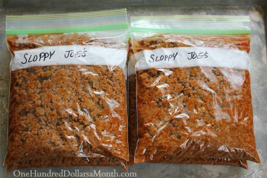 Easy Freezer Meals - Sloppy Joes To prepare from frozen, simply place the contents of one bag in a large skillet and heat to a low boil. Serve on warm sweet buns.