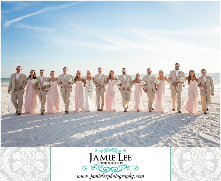 Marco Island Marriott | Marco Island Wedding Photographer | Jamie Lee Photography | Bridal Party Walking on Beach | Light Pink Bridesmaid Dresses and Tan Suits