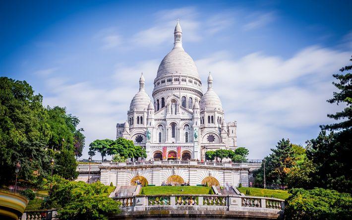 Descargar fondos de pantalla París, la Basílica de Sacre Coeur, el templo Católico, la arquitectura Bizantina estilo, lugares de interés de París, Francia
