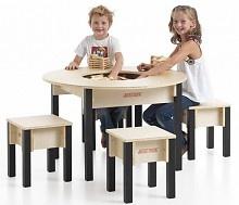 Ronde houten kindertafel met krukjes