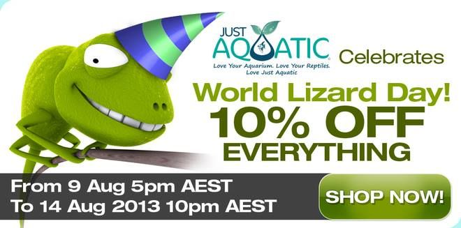 It's World Lizard Day next week (14 Aug) and because we love our slithery friends so much, we want to give you 10% off everything in store. Get in quick and stock up on some lizard supplies! Sale ends August 14th.