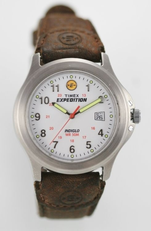 Timex Watch Men White Date 24hr Stainless Steel Silver Brown Leather 50m Quartz