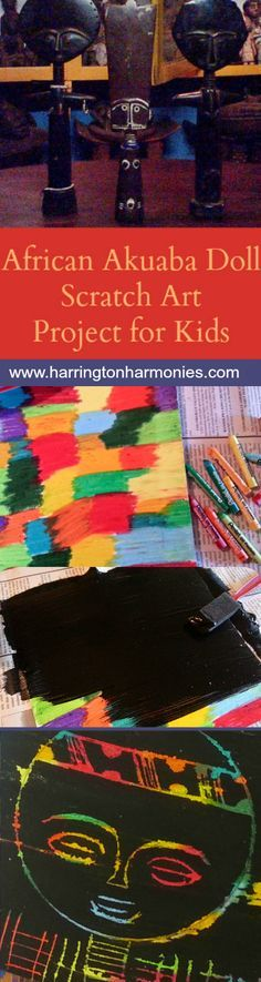 African Art Lesson for Kids on Ashanti Akuaba dolls. Scratch art project tutorial.