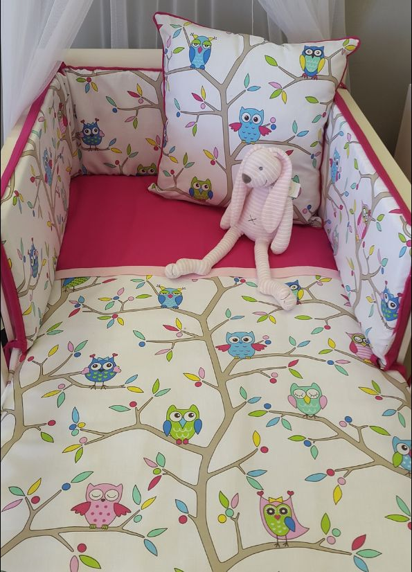 Our #Hootie bedding, matched with a #HotPink is perfect for any #BabyGirl's nursery!  #BabyBedding #BabyLinen