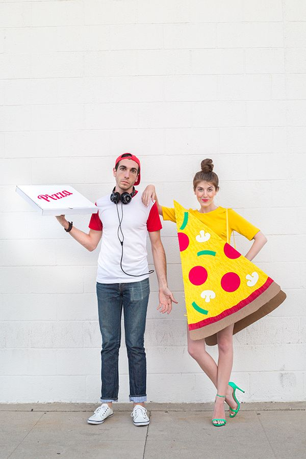 DIY Pizza Slice + Delivery Guy Couples Costume