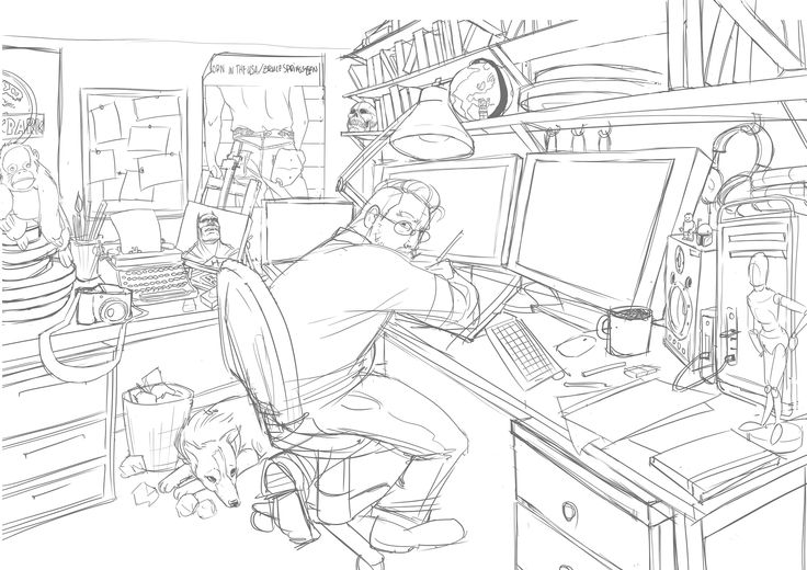 STORYBOARD WORKSHOP | Phase One of Website Banner -  Self Portrait Adobe Photoshop Workspace Work Space Office Desk Cintiq 13 HD Working Studio Illustration Drawing Storyboards Commissions Artist Illustrator