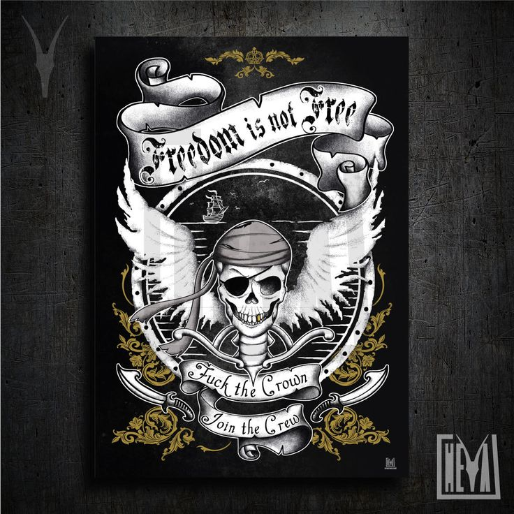Poster da collezione 50x70 cm - Freedom is not free. Pirati per scelta - Design originale Heya di HeyaStore su Etsy