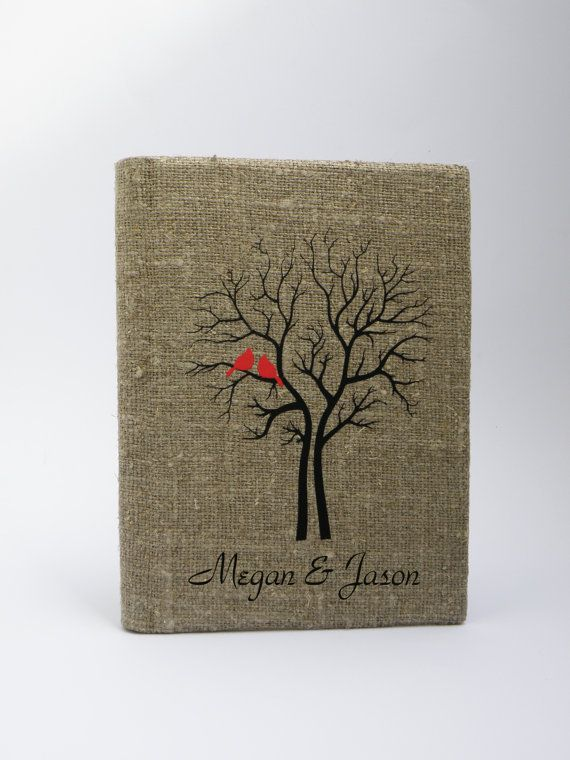 Wedding rustic guest book burlap Linen Wedding guest book Bridal shower engagement anniversary Red Cardinals on the Tree via Etsy